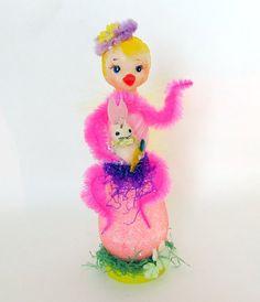 Vintage Easter Decoration Plastic Chick on Pink by teresatudor, $19.00