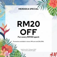 H&M Merdeka Sale RM20 OFF from 28 August 2021 until 31 August 2021 Johnson And Johnson, H&m Online, Fashion Sale, How To Apply