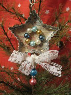 Primitive Christmas Ornament Vintage Tin Cookie Cutter Star