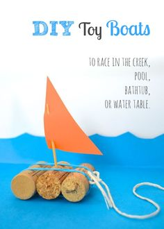 * DIY Toy Boats to race in the creek. Need 3 corks, toothpick, rubber bands, string, card stock or cereal box cardboard.