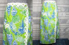 Vintage Skirt, Maxi, 60s, Lilly Pulitzer, Bold Print, Shells, Shellfish, Applique Trim, Lime Green, White, Turquoise, Apple Green, Sm, Med. $55.00, via Etsy.