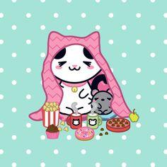 Nothing can be more comfy than staying under the blanket and eating candies… (≧ ◡ ≦) ♡ – Nada mais confortável que ficar debaixo das cobertas e comer guloseimas… (≧ ◡ ≦) ♡