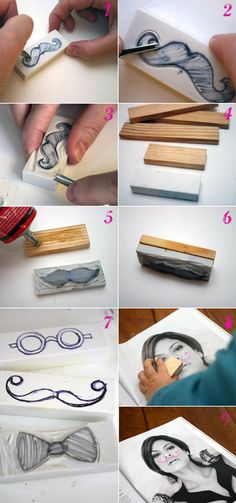 diy stamp-moustaches