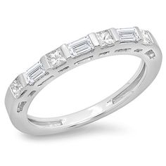 0.60 Carat (ctw) 14K Gold Princess & Baguette Cut Diamond Ladies Anniversary Wedding Band Stackable Ring