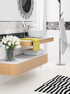 kolekcja White / Black Bathroom I Tiles I Glamour Tiles, Vanity, Glamour, Bathroom, Black, Room Tiles, Dressing Tables, Washroom, Powder Room