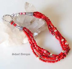 """03/21/14....red coral """"honeymoon"""" necklace with red coral heart pendant.  CB"""