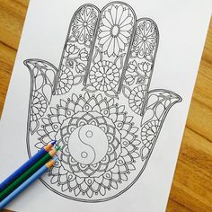 Hamsa Yon Yang - Hand Drawn Adult Coloring Page Print