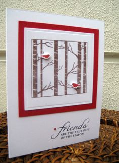 Handmade Christmas Card - Cardinals in Birch Trees - Red - White - Handstamped