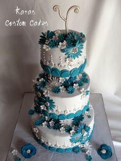 Teal and White Daisy Wedding Cake by Kara's Custom Cakes, via Flickr