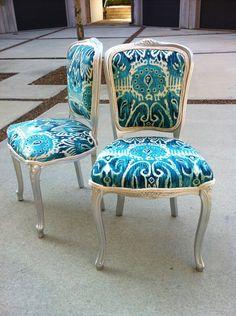 Ikat French Louis XVI Dining Chairs, Pair Burlap Upholstered Silver Blue Aqua Turquoise Suzani Designer Fabric Sitting. $1,049.00, via Etsy.