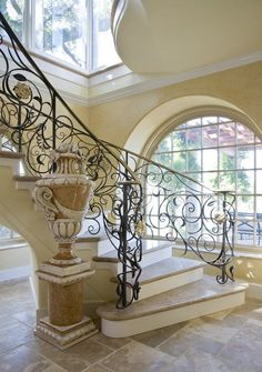 Beautiful #Staircases. The Grand Entrance. This staircase design definitely fits a person who would want to make a grand entrance at a party.  The sheer size of the staircase will definitely intimidate anyone who stares at it.