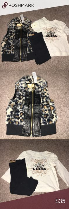 Guess infant girl Omg! This has to be the cutest outfit ever! Fur leopard vest with leather along zipper. Comes with matching thermal leggings and cream top. Size 12m Guess Matching Sets