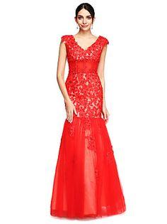 TS Couture® Formeller Abend Kleid - Offener Rücken Leger & Aufgebauscht V-Ausschnitt Boden-Länge Tüll mit Applikationen / Perlstickerei
