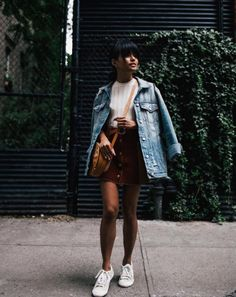 30 No-Brainer Weekend Outfits To Copy Now #refinery29  http://www.refinery29.com/casual-outfits-lazy-girl-weekend-style-photos#slide-2  Rest your jacket on your shoulder, rather than slipping your arms through for some immediate street style cred....