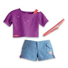 American Girl - Sparkly Camp Outfit and Charm for Dolls - My Ag 2014 * Find out more about the great product at the image link. American Girl Doll Sets, Ropa American Girl, American Doll Clothes, Our Generation Doll Clothes, Baby Dolls For Kids, Bitty Baby Clothes, American Girl Accessories, America Girl, Doll Clothes Barbie
