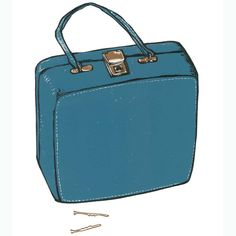 Multi-coloured linocut print of a retro beauty travel bag, one of an edition of 20 by FleurRendell based in stuff things Accessory Beauty Case, Beauty Stuff, Bag Illustration, Collagraph, Travel Things, Travel Stuff, Linocut Prints, My Bags, Travel Accessories