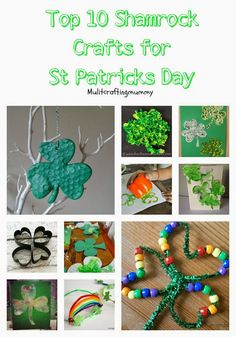 Top 10 Shamrock Crafts for Kids. Ideal for St Patricks Day themed arts and crafts activities.