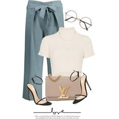 A fashion look from January 2018 by monmondefou featuring Staud, Gianvito Rossi and Louis Vuitton