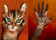 hand painted like life like cat Face Painting Designs, Hand Painting Art, Hand Makeup, 8th Grade Art, Piercings, Hand Art, Cute Creatures, Animal Paintings, Amazing Art