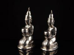 A Pair Of Scarce 19th C. Burmese Silver Buddhist Monk Figures. | 486457 | www.wjmantiques.com