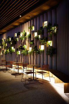 Ambiente sustentável feito com tubos de Cardboard