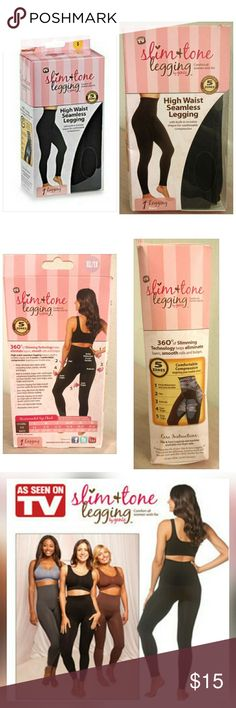 Slim & Tone legging by Genie (Plus size) As seen on TV! Slimming leggings flatters your figure without sacrificing comfort!  -Fits sizes: XL-1X -high waisted -seamless -built in, invisible shaper -compression targeting technology -ultra soft & lightweight -breathable cotton gusset -Made of: Nylon & Spandex  Brand new, never used Still in box  OFFERS ON ITEMS $15 OR LESS WILL BE INSTANTLY DECLINED Genie Pants Leggings