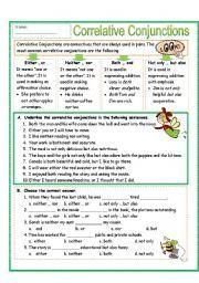 Brilliant Ideas of Correlative Conjunctions Worksheets Also Job ...