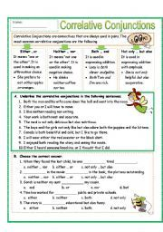 Correlative Conjunctions Worksheet Fill-In Part 1 ...