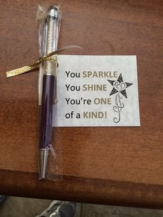 Made these using the Scentsy sparkle pens/stylus.  Added a cute saying.  Inexpensive recognition gift idea.