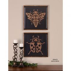 Uttermost Lady Bug and Bee Wall Art in Distressed Rusty Bronze (Set of 2) - 07596