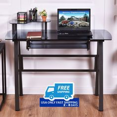 Glass Top Computer Desk with Printer Shelf.