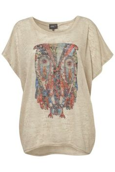 Patchwork Owl Slouch Top on Womens Clothing