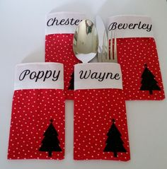 Christmas Cutlery pockets by Bev Edwards for Silhouette Cameo UK