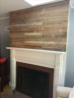 Play wall made various pieces of antique and vintage wood. Plank Walls, Mantels, Vintage Wood, Fireplaces, Loft, Play, Antiques, Home Decor, Cornices