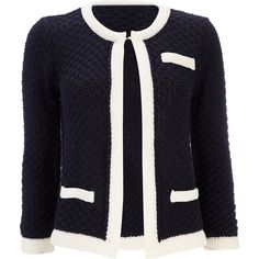 Navy Tipped Edge Cardigan ($61) ❤ liked on Polyvore