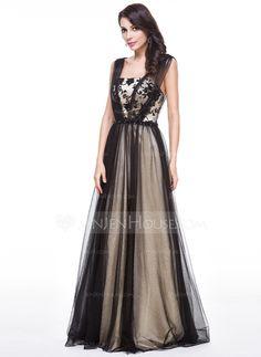 Corte A/Princesa Hasta el suelo Tul Charmeuse Vestido de noche con Encaje Bordado Lentejuelas (017056516)