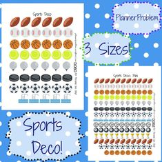 Sports Deco! | Free Printable Planner Stickers from plannerproblem.wordpress.com! Available in 3 sizes with a customization option! Download for free at https://plannerproblem.wordpress.com/2016/07/20/sports-deco-free-printable-planner-stickers/
