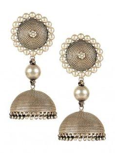 Silver Jhumkas India Jewelry, Ethnic Jewelry, Jewelery, Silver Jewelry, Indian Accessories, Silver Accessories, Antique Earrings, Antique Jewelry, Silver Jhumkas