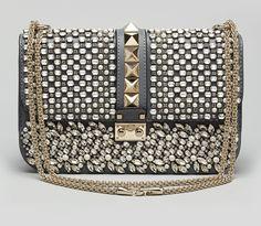 Valentino glam lock medium crystal shoulder bag