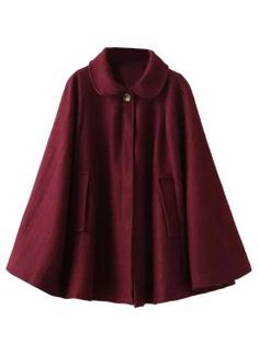 Shop Wine Red Lapel Poncho Cape Woolen Coat from choies.com .Free shipping Worldwide.$69.99