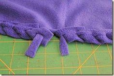 Tuesday Tutorials – No Sew Fleece Blanket Edging (Without Tying Knots!) - - Tuesday Tutorials – No Sew Fleece Blanket Edging (Without Tying Knots!) Kussens maken Tuesday Tutorials – No Sew Fleece Blanket Edging (Without Tying Knots! Fleece Blanket Edging, Fleece Throw, Tie Knot Blanket, Chenille Blanket, Blanket Crochet, Sewing Hacks, Sewing Tutorials, Sewing Patterns, Sewing Tips