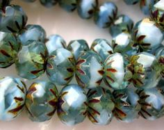Czech Glass Beads, Picasso Beads - Aqua and Baby Blue (0440) - Czech Glass Picasso Rondelle  - 6x9mm - Qty 12