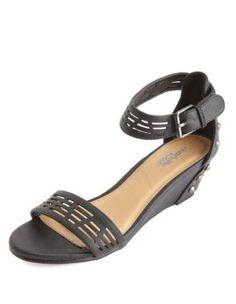 studded laser-cut sliver wedge sandals - Charlotte Russe