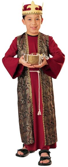 Our kids Deluxe Gaspar Costume includes a dark red tunic with an attached metallic brocade robe and attached rope belt cord and a matching crown headpiece. Christmas Skits, Ward Christmas Party, Christmas Pageant, Christmas Program, Christmas Concert, Christmas Costumes, Christmas Carol, Kids Christmas, Christmas Nativity