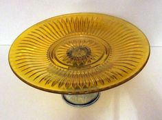 Yellow Cake Plate Glass Cake Stand on Green by MyYellowButterfly