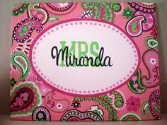16x20 Pink and Lime Green Paisley Teacher/Nursery Name Sign. $75.00, via Etsy.