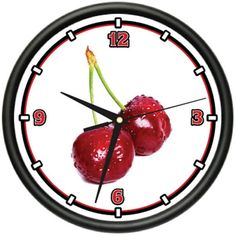 Cherries Wall Clock Kitchen Cherry Decor Lover New Gift Wall Clock Gym, Best Wall Clocks, Kitchen Wall Clocks, Clocks By Coldplay, Dog Kennels For Sale, Cool Dog Houses, Cherry Kitchen, Clocks For Sale, Gifts