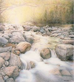 """Cold Creek by Carol Moore   Title: Cold Creek   Medium: Color pencil   Paper: Stonehenge   Size: 18"""" x 20""""   Original  Cold Creek is my first landscape in color pencil. I really enjoyed working on the details of this piece. I made up the background from my imagination. I used a reference photo for the"""