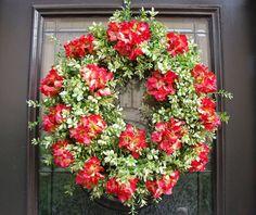 spring wreaths for front door | Front Door Wreath Spring, Hydrangea Wreath, Boxwood Wreaths, Summer ...