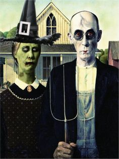 American Gothic Vampire And Witch.